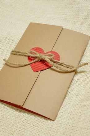 convite de casamento simples em papel kraft