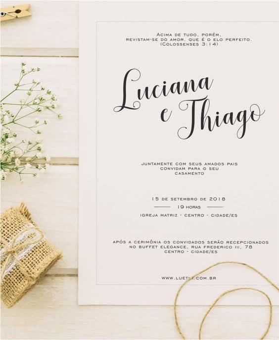 modelo de convite de casamento tradicional e barato