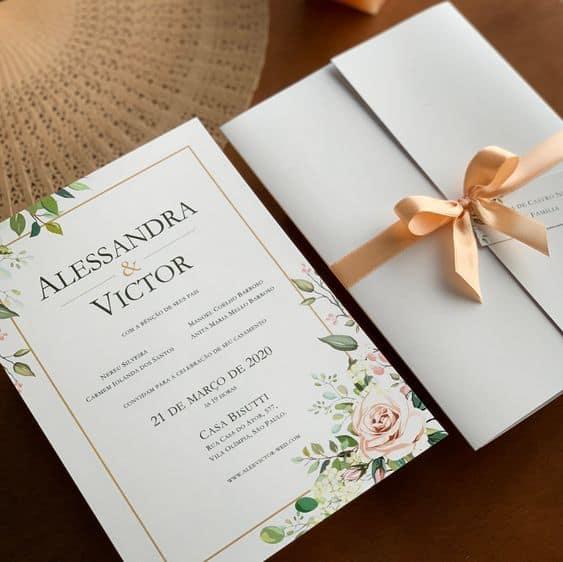 Convite de casamento clássico - Modelo C50 - Boutique do