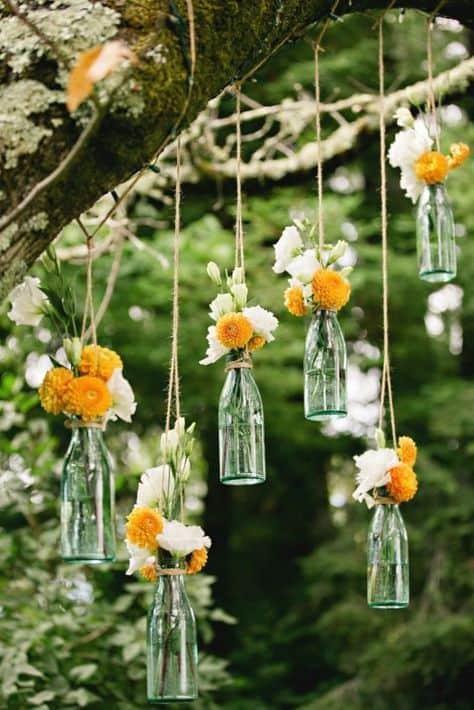 decoração DIY para casamento rústico ao ar livre