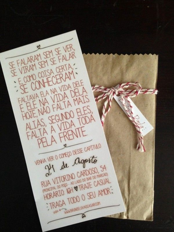 ideia de convite DIY criativo para casamento
