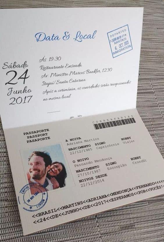 convite de casamento de passaporte