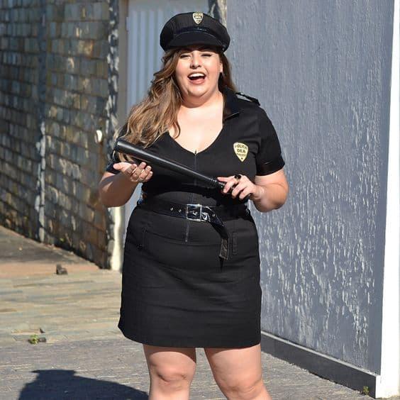 fantasia de policial plus size para festa