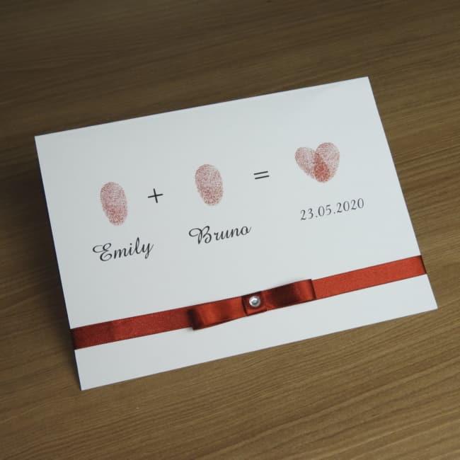 convite de casamento simples com digitais