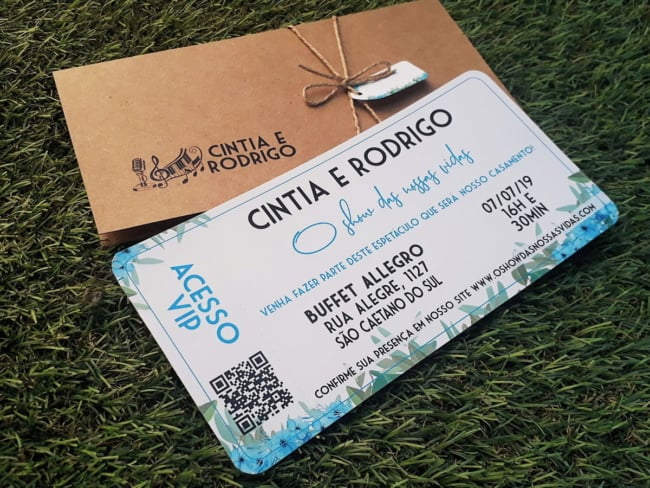 convite de casamento em formato de bilhete vip
