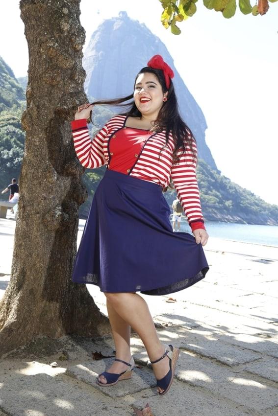 fantasia de marinheira plus size com saia