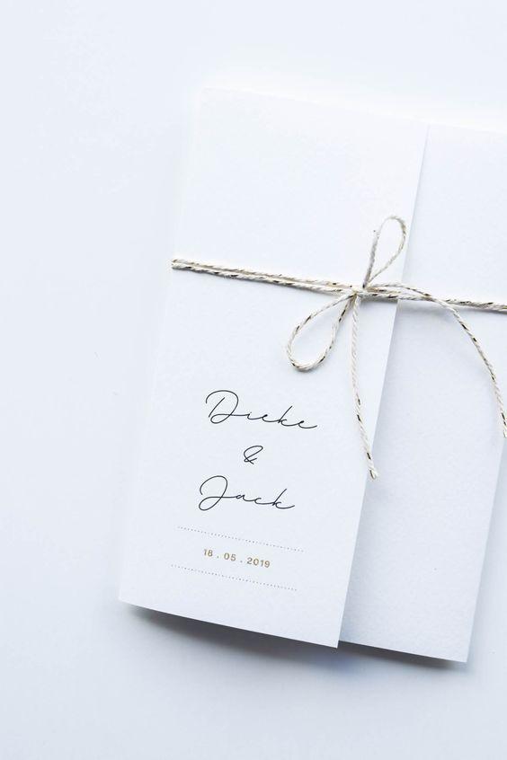 modelo de convite moderno e minimalista para casamento