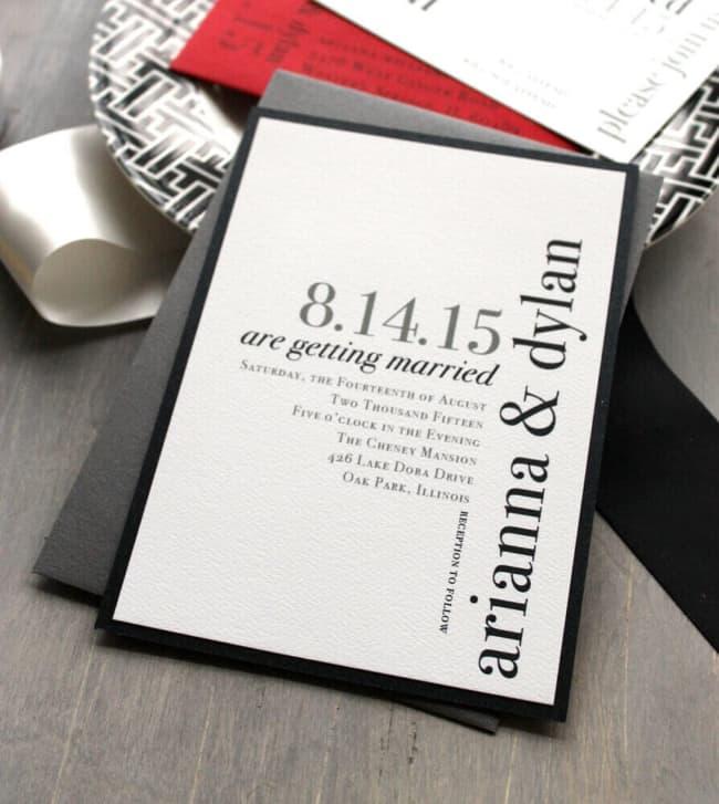 convite simples e minimalista para casamento moderno