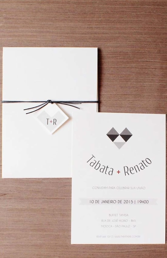 convite de casamento com design moderno e simples