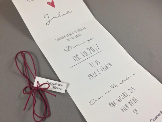 modelo de convite moderno e clean para casamento