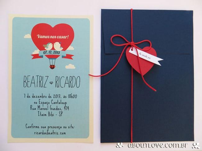 modelo de convite de casamento azul