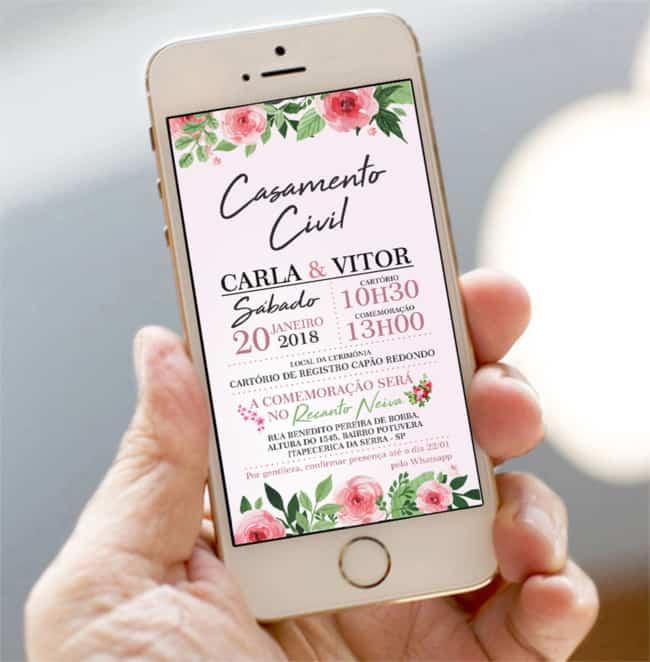 convite virtual de casamento civil simples