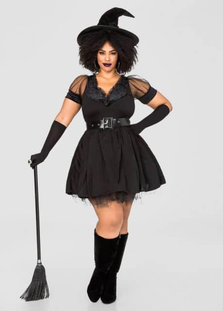 fantasia plus size de bruxa para Halloween