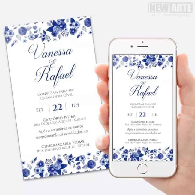 convite digital azul para casamento