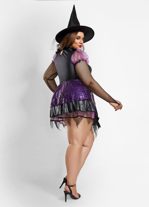 fantasia de bruxa plus size com vestido curto
