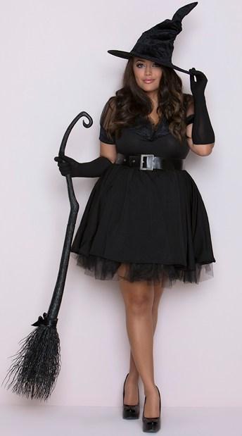 fantasia de bruxa com vestido preto plus size