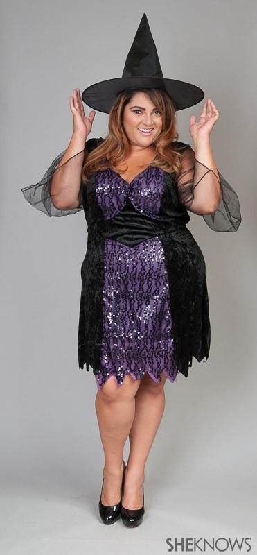 fantasia de bruxa plus size com vestido