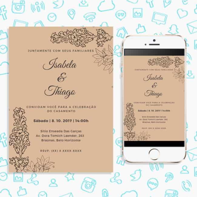 modelo de convite digital simples para casamento rústico