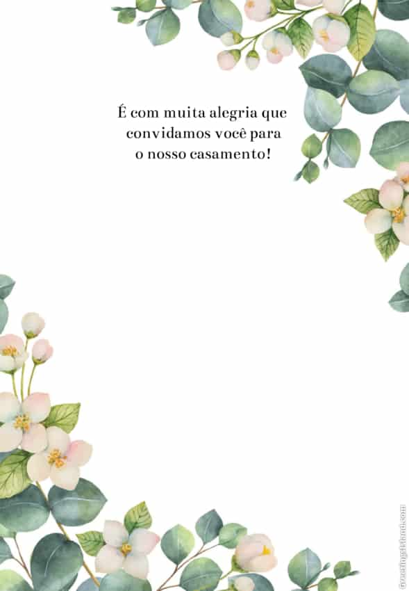convite floral simples para imprimir grátis