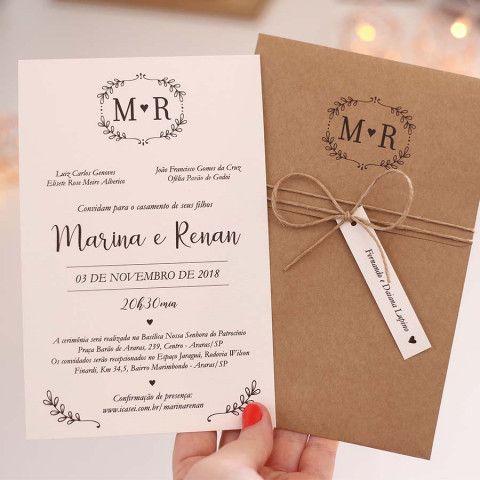 convite de casamento simples com envelope de papel kraft