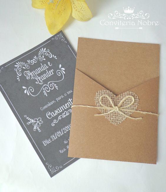 convite de casamento lousa com envelope kraft