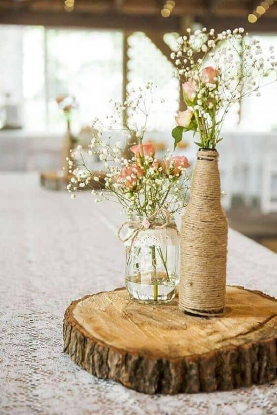 centro de mesa simples e DIY para casamento