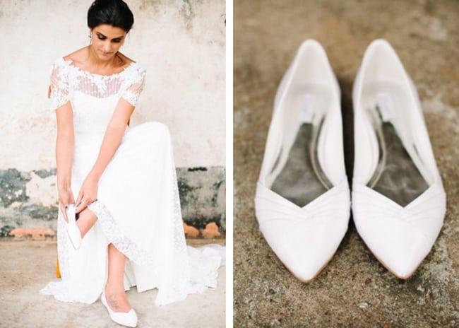 Noivas ficam lindas com sapatilhas