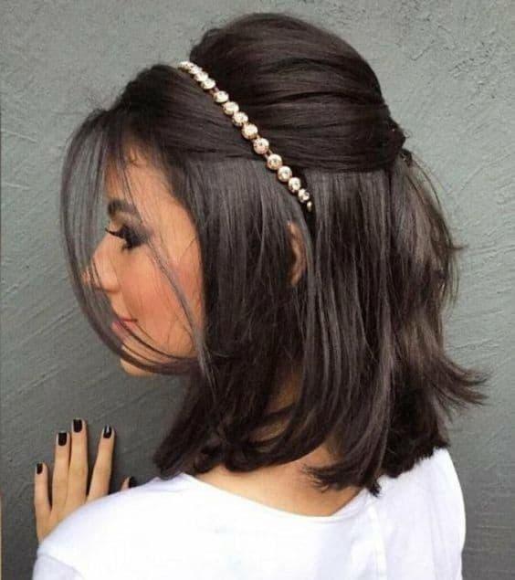 Penteado para Madrinha Cabelo Liso e Curto