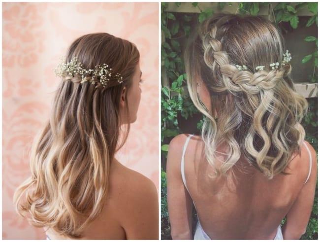 Penteado para Madrinha Semi Preso com Flores