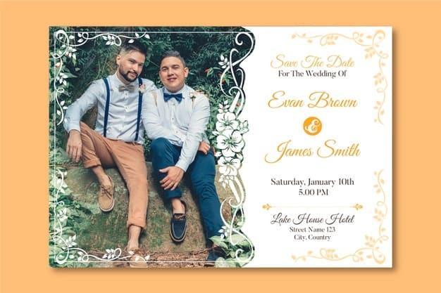 convites de casamento com foto casal gay