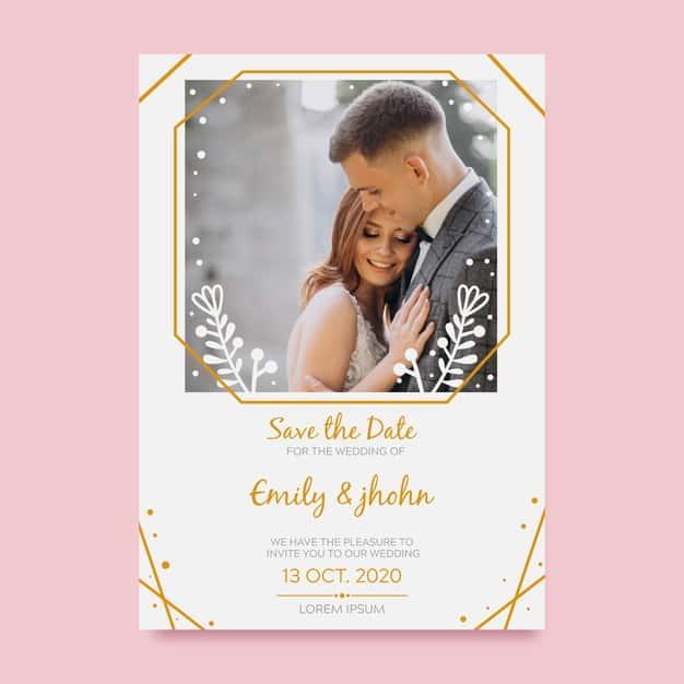 convites de casamento com foto com fundo rosa