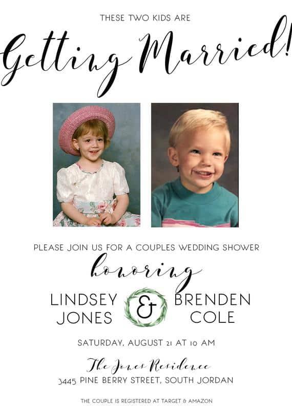 convites de casamento com foto de bebes
