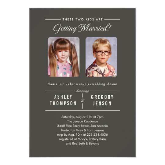 convites de casamento com foto de crianças