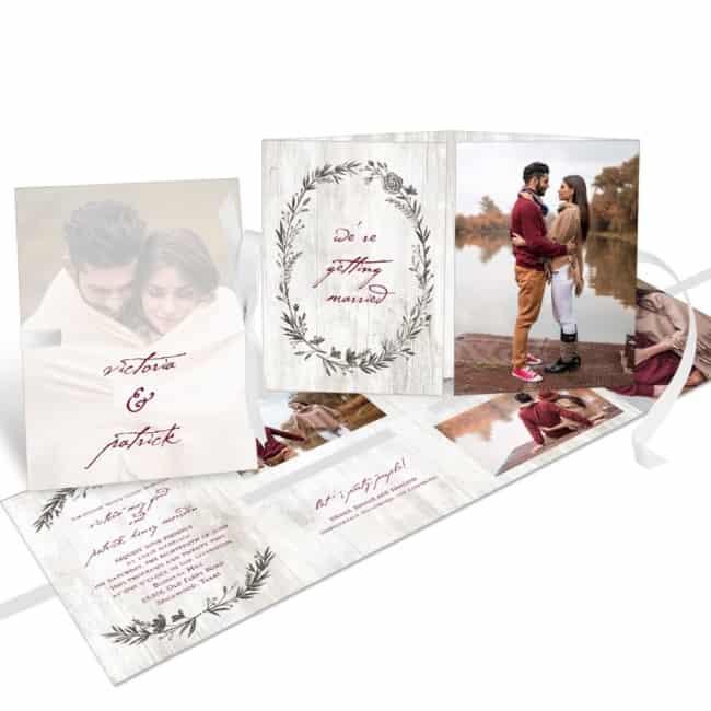 convites de casamento com foto dobravel