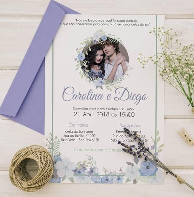 convites de casamento com foto feitos online