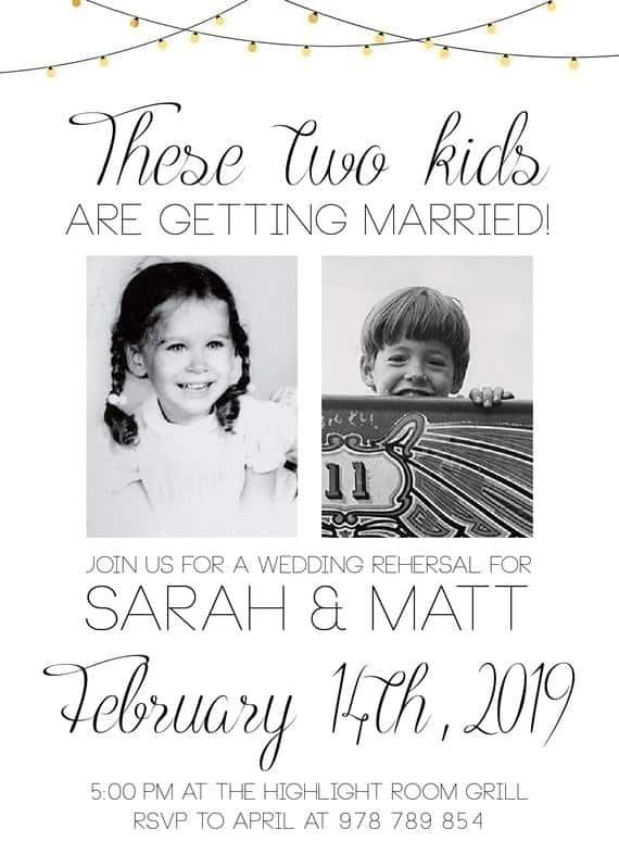 convites de casamento com fotos baby