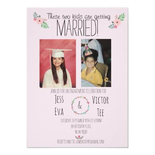 convites de casamento com fotos dos noivos criança