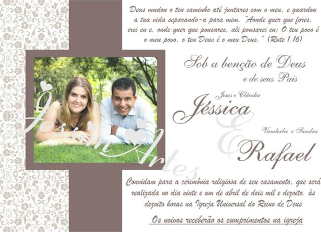 convites de casamento folha unica horizontal