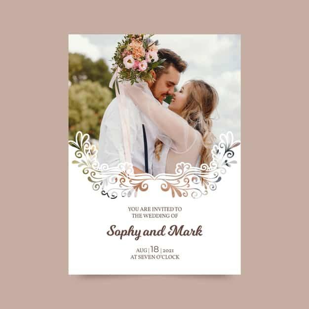 convites de casamento vertical simples