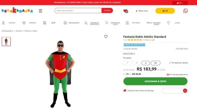 fantasia do robin loja online