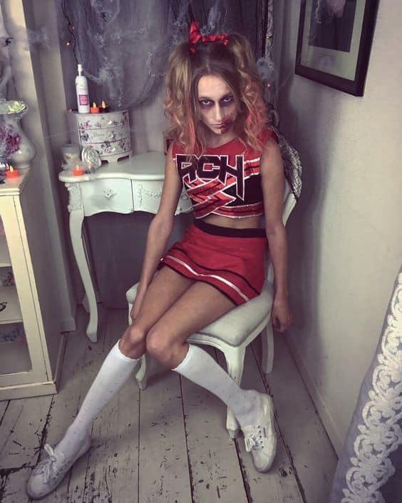fantasia feminina de halloween de líder de torcida zumbi