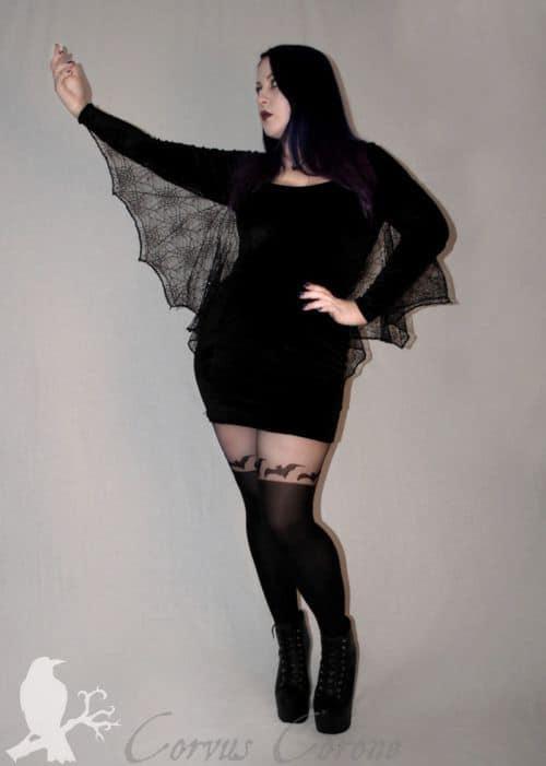 fantasia feminina de morcego com vestido curto