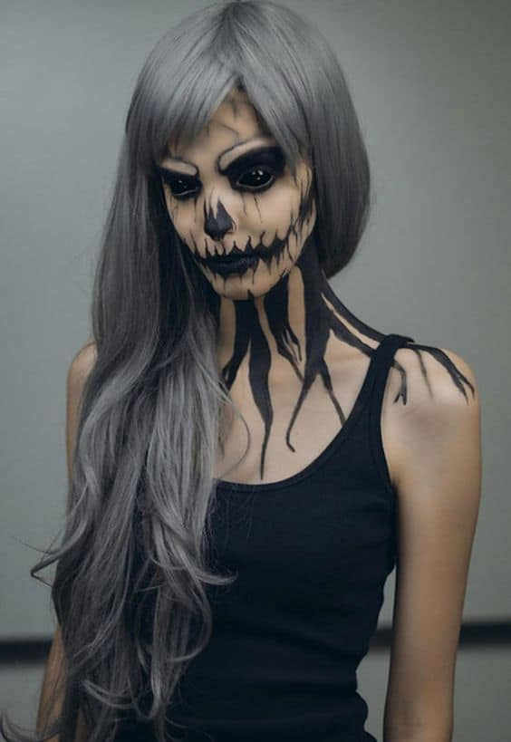 maquiagem de halloween assustadora feminina