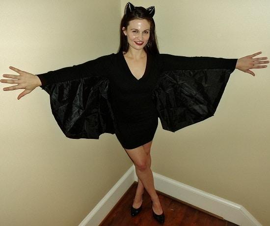 fantasia feminina de morcego com vestido de manga longa