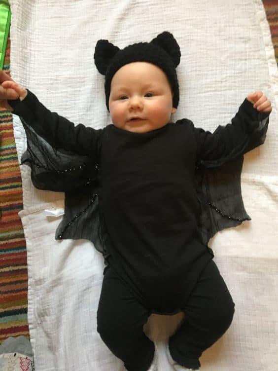 fantasia de morcego simples para bebê