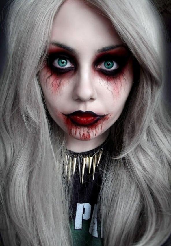 maquiagem de halloween assustadora