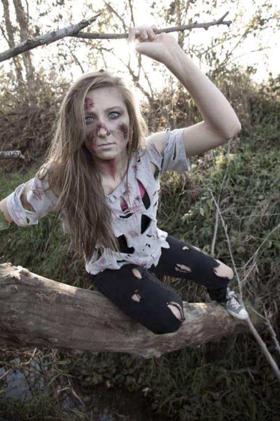 fantasia feminina de zumbi para halloween