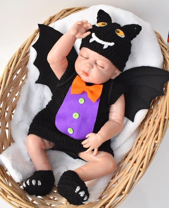 fantasia de halloween em crochê para bebê