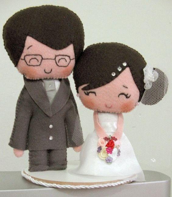topo de bolo de casamento em feltro