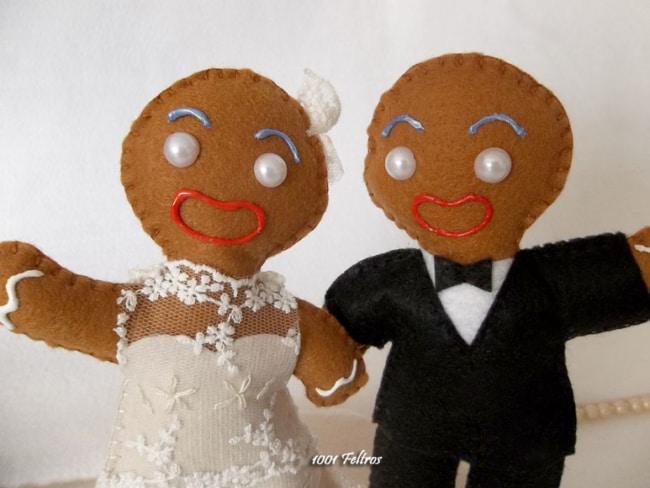 topo de bolo de casamento criativo em feltro